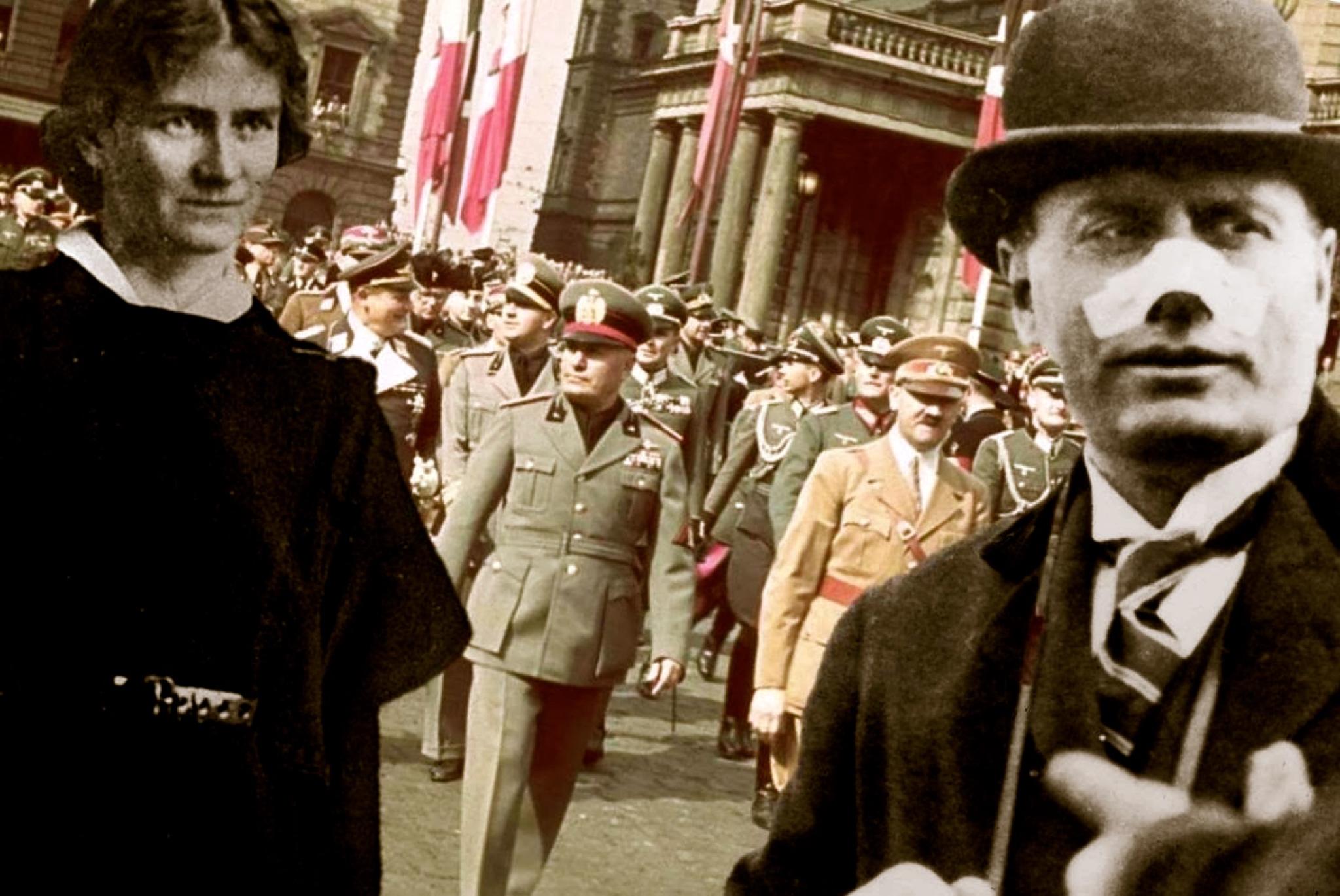 Violet Albina Gibson (t.v.) og Mussolini med plaster på nesen (t.h.)